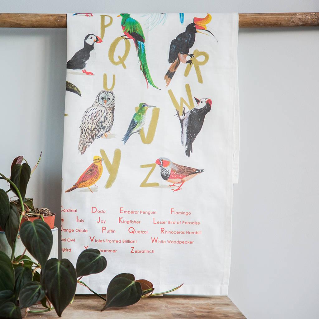 Sarah Edmonds Avian Alphabet Tea Towel