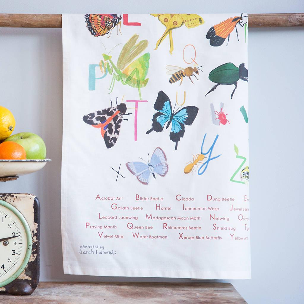 Sarah Edmonds Insect Alphabet Tea Towel