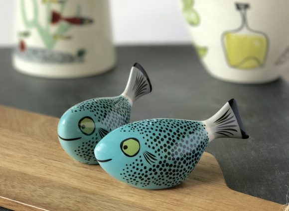 Teal Blue Fish Salt and Peppers Hannah Turner